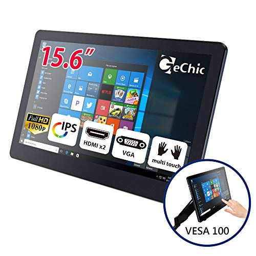 GeChic 1503I Tragbarer Touchscreen Monitor 10-punke multitouch kapazitiv (HDMI*2/ VGA) 1920x1080 Full HD IPS USB Stromversorgung, Rückseitige Dockingstation, 15,6 Zoll(39,62cm)