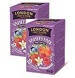DEU London Fruit & Herb Company Assortimento di Infusi Aromatizzati in 4 Sapori alla Frutta Senza Caffeina - 8 x 5 Bustine di Tè (80 Grammi)