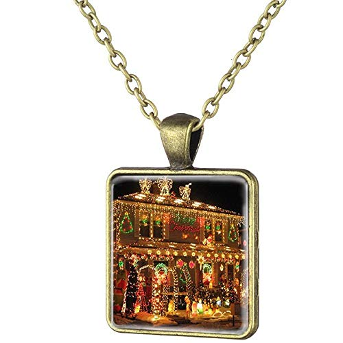Naswi Weihnachtshochzeitsfeierdekoration Lichterketten Halskette Quadratisches Glas Cabochon Anhänger Halsketten Collier Geschenk