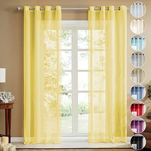 Topfinel Voile Vorhänge Leinenstruktur mit Ösen Durchsichtig Einfarbig für Fenster Wohnzimmer Schlafzimmer Moderne und Elegante Gardine 2er Set je 160x140cm (HxB) Gelb