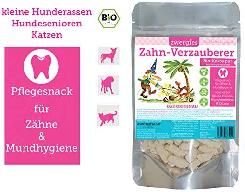 ZWERGNASE Zahn-Verzauberer Zwergies 1 x 90g   Antibakterielle Mund- und Zahnhygiene speziell für kleine Hunderassen, Hundesenioren und Katzen, 100{06d5276b36d9c8711bc8e923aa3a4915fd8f49802b11f98007df7c2cf4ad4092} vegan, ohne Zucker und Getreide