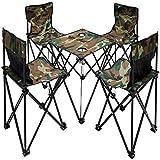 AoYan Klapptisch und Stühle für den Außenbereich, inkl. 4 verstellbaren Klapphockern, tragbares Picknick-Set, selbstfahrender Picknick, Angelstuhl, 5-teiliges Set