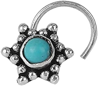 AccessHer 92.5-925 sterling Silver Trendy Turquoise stone oxidised star nose pin for womens and Girls