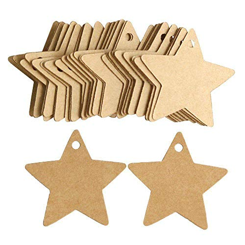 Lumanuby 100 Pcs Kraft Paper Gift Tags Lovely Bookmark Label Stars Design With 2M 2mm Rope Hanging Message Card Five-Pointed Star