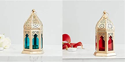 Home Centre Moksha Hanging Lantern - Blue & Moksha Hanging Lantern - Red Combo