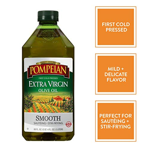 Pompeian Smooth Extra Virgin Olive Oil, First Cold Pressed, Mild and Delicate Flavor, Perfect for Sauteing & Stir-Frying, 68 FL. OZ.