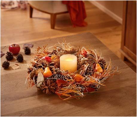 Herbstdeko Dekokranz Herbstzeit Herbstkranz Tischkranz in schönen Herbstfarben