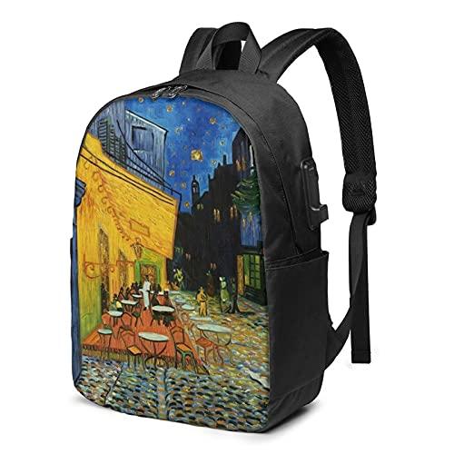 Van Gogh Night Cafe Mochila personalizada, mochila de viaje con puerto de carga USB para hombres y mujeres de 17 pulgadas, ver imagen, Talla única,