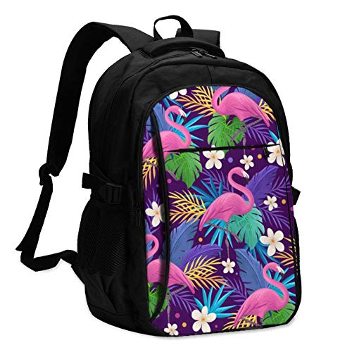 USB Large Capacity Travel Business Backpack, Colorful Flamingo Picture 17-Inch Laptop Bag