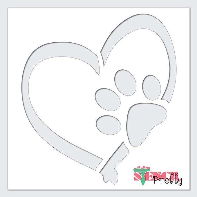 Flexible Stencil *CAT PAW LOVE TREAT* Fish Bone Heart Card Making 10cm x 10cm