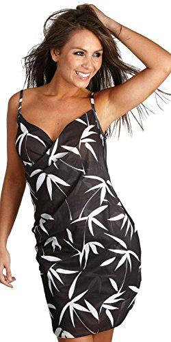 Saress Strandkleid mit Sarong-Oberteil, kann auch als Top getragen werden Gr. Small, schwarz / weiß