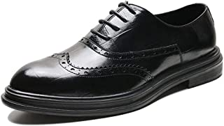 CHENDX Shoes Hand Made Business Oxfords for Men Wedding Loafers Lace up Pointed Toe Brogue Carving Perforated Platform Burnished Style Microfiber Leather (Color : Black, Size : 42 EU)