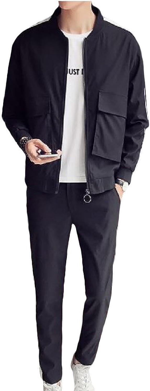Wofupowga Men's Slimming Athletic TwoPiece Zip up Jacket Pants Tracksuit Set