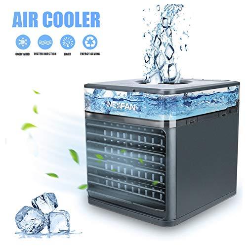 Mini Luftkühler, Mobile Klimaanlage USB Ventilator Luftbefeuchter mit Verdunstungskühlung Air Cooler mit 3 Stufen & 7 Stimmungslichtern für zu Hause, Büro, Auto, Hotel, Garage, Camping (Schwarz)