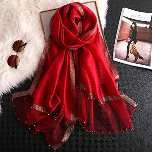 UKKO Bufanda Mujer Bufanda Lujo Verano Seda Bufandas Señora Chal Envoltura Hijab Foulard Femenino Pañuelo Pashmina Perla Joya Diadema-26 Red Gold