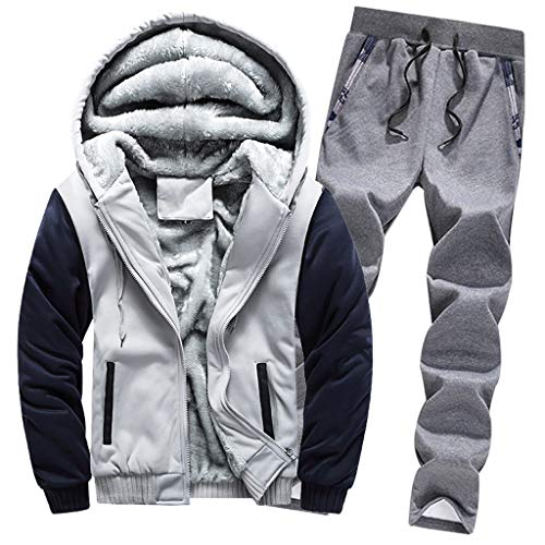 Mens Tracksuit, Beautyfine Warm Fleece Sport Hooded Sweatshirt Coat Hoodies+Pants Sweat Suit