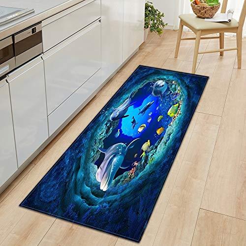 OPLJ 3D Underwater World Küchenmatte Eingang Fußmatte Schlafzimmer Bodendekoration Wohnzimmer Teppich rutschfeste Fußmatte A23 60x180cm