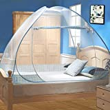 Tinyuet Mosquito Net, 39.3x78.7in Bed Canopy, Portable Travel Mosquito Net, Foldable Single Door Mosquito Net for Bed, Easy Dome Mosquito Nets-Blue Rim
