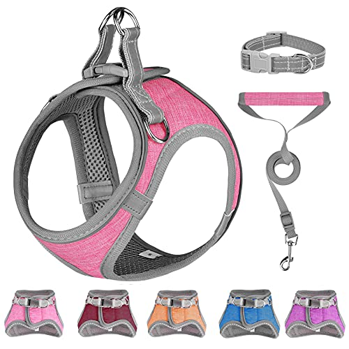 Small Dog Harness, Puppy Harness, Soft Dog Harness and Leash Set with a Reflective Collar for Small Dogs,Comfortable and Reflective Dog Vest Harness, Pink Small