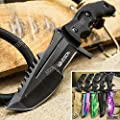 Tactical Knife Survival Knife Hunting Knife Full Tang Fixed Blade Knife Razor Sharp Edge Camping Accessories Camping Gear Survival Kit Survival Gear Tactical Gear 54917 (Black)