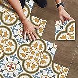 Vintage Floral Floor Tile Stickers Peel and Stick Antideslizante Impermeable Cocina Backsplash Azulejos Calcomanías Extraíbles Vinilos para Piso para Baño Sala de estar Dormitorio Decoración de Primav