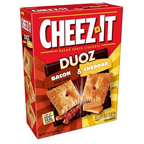 Cheez-It DUOZ Baked Snack Cheese Crackers, Bacon & Cheddar, 12.4 Ounce (Pack Of 12)
