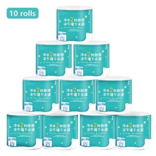 Toiletpapier 4 lagen Houtpulp Servetten Niet-fluorescentie Bulkhoeveelheid Toiletpapier voor restaurant, keuken, dagelijks gebruik(10 rollen)