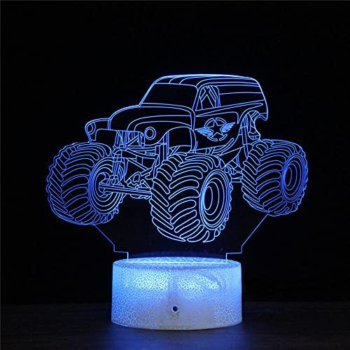 LED-Nachtlicht mit 3D-Illusionslampe, Monster-Truck, 16 Farben, automatischer Wechsel, Touch-Schalter, Schreibtisch-Geburtstagsgeschenk mit Fernbedienung