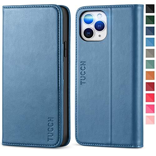 TUCCH iPhone 12 Pro Max Hülle, Schutzhülle 12 Pro Max Kartenfach [Weicher TPU] [Aufstellfunktion] [Magnet] Lederhülle Klappbar, Stoßfest Flipcase, Brieftasche für iPhone 12 Pro Max (6,7 Zoll) Blau