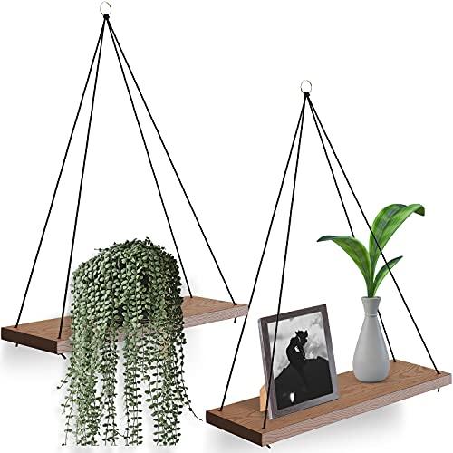 OMYSA Boho Wall Hanging Shelf - Set of 2 Wood...