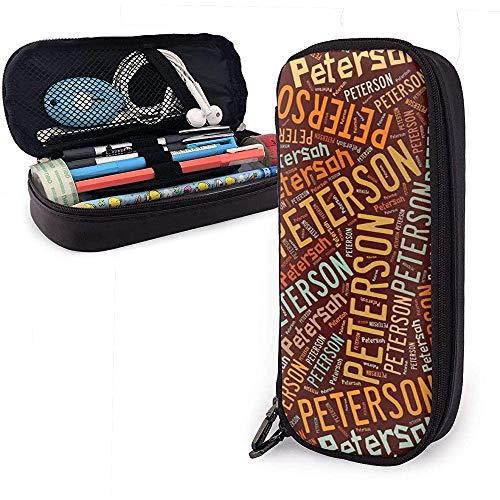 Peterson - Apellido americano Estuche de cuero de gran capacidad Estuche de lápices Estuche de lápices Papelería Organizador Bolígrafo de maquillaje Bolso de cosméticos portátil