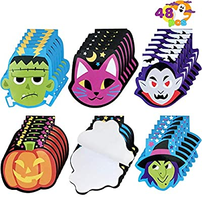48 Pcs Halloween Spooky Characters Mini Notepad Set in 6 Designs Trick or Treat Gifts Set for Kids Halloween Party Favors