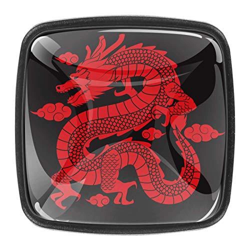 4 pomos de repuesto para gabinete de armario, manija de puerta y cajón, pomos para cocina, aparador, armario, baño, armario tradicional chino rojo dragón negro