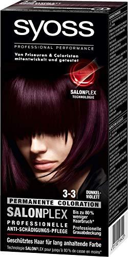 Syoss Haarfarbe, 3-3 Dunkelviolett, 3er Pack (3 x 115 ml)