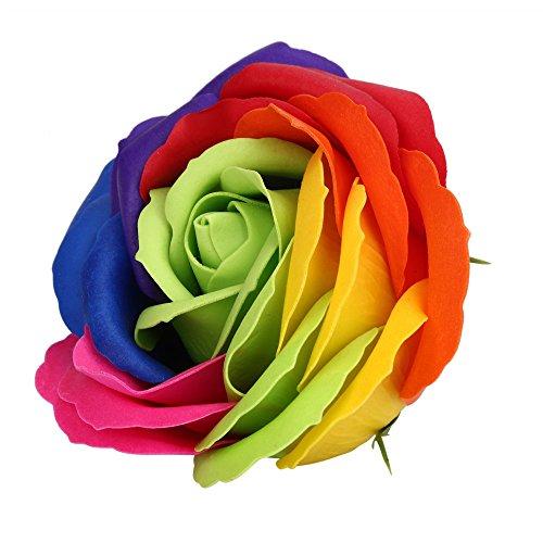 Andouy Handgemachte Rose Seife, Künstliche Rose Holzkiste, Geschenk für Geburtstag Jubiläum Valentinstag Hochzeit Muttertag(13x13x7cm.Grün)