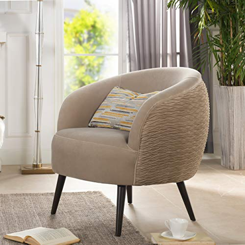 Jennifer Taylor Home York Mid-Century Modern Ruched Barrel Chair, Mink