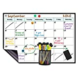 LUCYCAZ Dry Erase Calendar, Monthly Magnetic Whiteboard for Fridge with 4 Push Pin Magnets and 8 Markers, 12''17'' (A3)