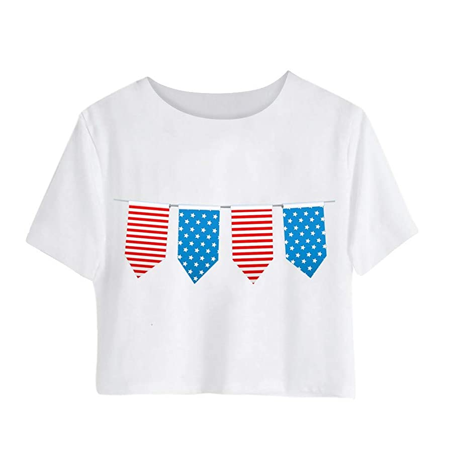 KLFGJ Women Tops in Independence Day,Large Size Patriotic Tees Printed T-Shirt Short Sleeve Loose Shirts