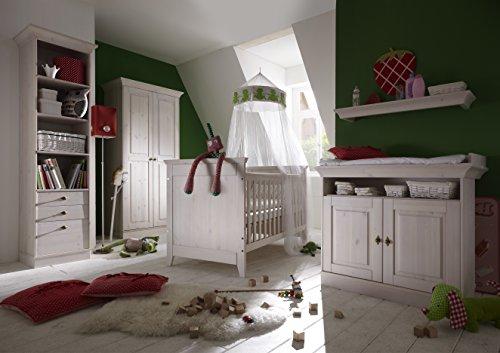 Babykamer Felix, babybed + kledingkast + commode + planken in grenen volledig massief wit