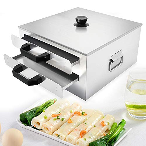 Chinese Rice Noodle Roll Food Steamer, Cantonese Rice Noodle Rolls Machine, Stainless Steel Steamed Vermicelli Roll Steamer, 2 Layer with Extra Tray Stainless Steel Square Tier/Layer Cooking Cuisine Guangdong Recipes Cookware (2 Layer)