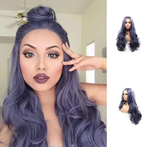 Dark Blue Purple Lace Front Wigs Soft Synthetic Wavy Wig with Baby Hair Royal Blue Natural Hairline Small Lace Middle Part Wig for Black Women