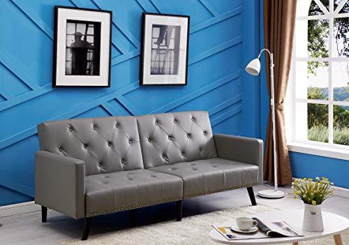 Naomi Home Jolene Convertible Tufted Split Back Futon Sofa Gray/Faux Leather