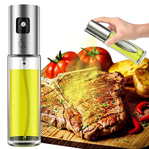 Olive Oil Sprayer, Spray Bottle, Portable Oil Dispenser Mister for Cooking, BBQ, Salad, Baking, Roasting, Grilling, Frying, 3.4-Ounce Capacity, Glass Bottle, 100ml, Including Free Tube Brush