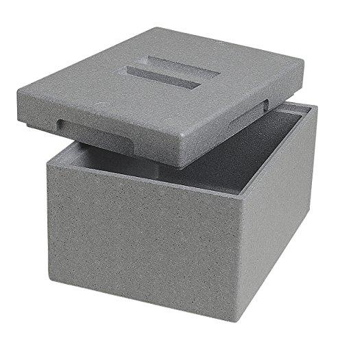 CLIMAPOR Thermobox mini aus Styropor, grau – Volumen: 25,5 x 35 x 21 cm (9 Liter) - Wandstärke: 1,75 cm bzw. 2 cm