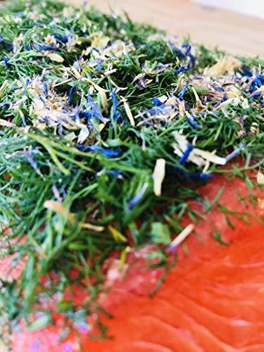 Graved Lachs (gebeizter Lachs) Nordic Arctic mit Aquavit , nordischen Gewürzen, frischem Dill und Kornblumen 300g ✔ Mit frischen Kräutern und Bio Zitrusfrüchen in eigener Manufaktur hergestellt