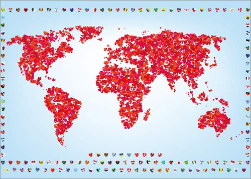 Poster 70 x 50 cm: stylized world of love by Editors Choice art print, new art poster