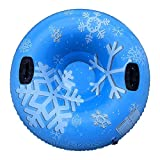 Snow Tubes for Sledding, Heavy Duty 47' Kids & Adults Outdoor Inflatable Snow Sled, Towable 2 Person Wear-Resistant Snow Tube w/ 2 Handles, Thickening Skiing Ring, PVC Tire Tube, Winter Snow Toys (A)