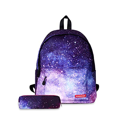 FANDARE Unisex Casual Daypack Backpacks Galaxy School Bag for Girls Boys High School Teens Knapsack Women Men Travel Laptop Rucksack College Bookbag with Pencil Case Pouch Waterproof Polyester Purple