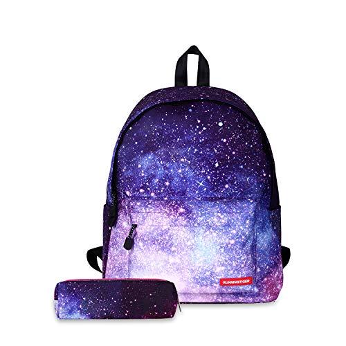 FANDARE Mochila Galaxy Mochilas Tipo Casual Bolsas Escolares con Estuche Niña Niño Bolsa de Viaje Bolsos de Mujer Adolescente School Bag Outdoor Viaje Infantiles Daypack Poliéster Púrpura
