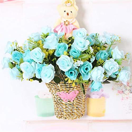 WJFQ Flores Artificiales Colgar Las Flores Artificiales de Rose Falsa Pared Rattan Cesta de la Flor for el hogar Interior Oficina Balcón Galería Decoración (Color : Blue)